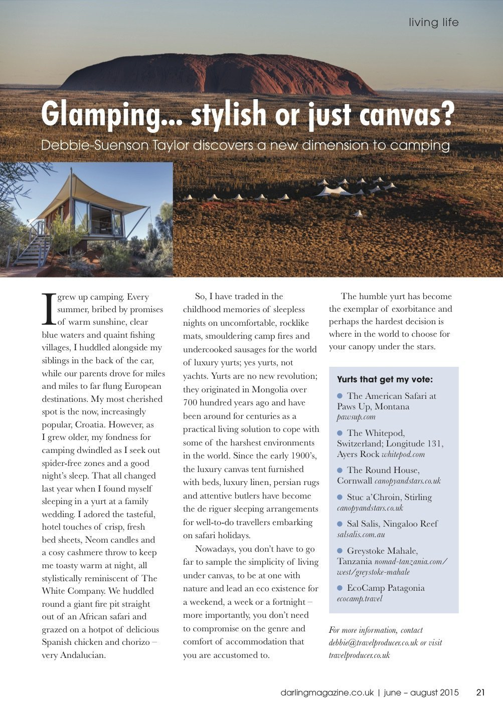 GLAMPING ... STYLISH OR JUST CANVAS?